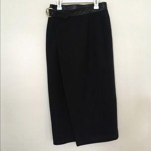Isaac Mizrahi Wool Midi skirt with leather detail.